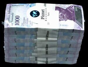 Venezuela 2017 $1000 Bolivares 1 Brick 1000 Pcs New UNC Super Cool Purple Color