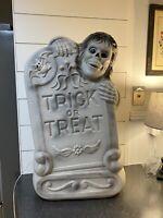"Vintage Trick Or Treat Blow Mold Tombstone Skeleton & Bat 28"""
