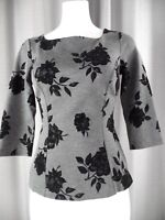 White House Black Market Womens 00 Gray Floral 3/4 Sleeve Ponte Top Shirt A