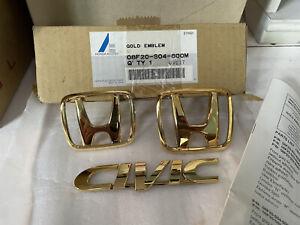 Genuine 1999-2000 Honda Civic Sedan Factory Accessory Gold Emblem Set OEM Rare
