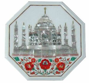 """1.5' White Marble Side Table Top With 18"""" Stand Tajmahal Inlay Home Decors W184A"""