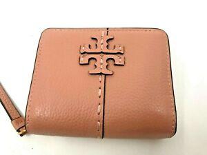Tory Burch NEW McGraw Bi-Fold Pink Moon Wallet Logo Zip Snap $168 Authentic