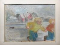 Danish Artist Doreen Middelboe - Gouache - Running Children with Cat