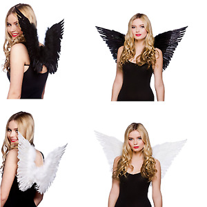 Adult Small / Large Feather Angel Fairy Fancy Dress Wings Black / White / Red