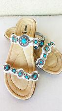 MINNETONKA Women's Boca White Leather Slip-On Sandal Shoe 70201 SIZE 5 NEW