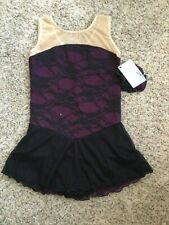 New listing Icings NWT Childs L Plum and Black Lace ROLLER ICE SKATING DANCE BATON DRESS