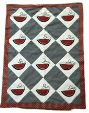 Quilted Table Runner Topper Summer Picnic Watermelon Seeds Black White Red Green