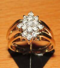 STUNNING UNUSUAL 14ct GOLD SAPPHIRE & DIAMOND FOLDING CLUSTER RING SIZE H1/2