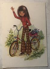 Vintage Postcard ~ Girl w. bicycle