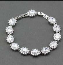 White Topaz Tennis DIAMONIQUE Gemstone Sterling Silver Bracelet ,Bangle 7-8 ""