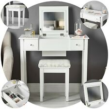White Dressing Table Flip Top Mirror with LED Lights 5 Drawers Stool Makeup Set