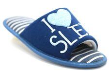 Ladies Luxury Stripe Open Toe I Love Sleep Heart Indoor Slippers Ladies UK 3 / EU 36 Navy Blue