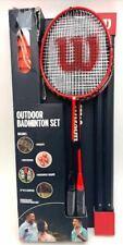 Wilson Outdoor Badminton Set 4 Hypersteel Racquets 4 Shuttlecocks 20ft Net - Red