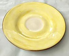 "enSoie Signed Yellow Glazed Ceramic 6"" Saucer Plate Tea Dish 18K Gold Poland"