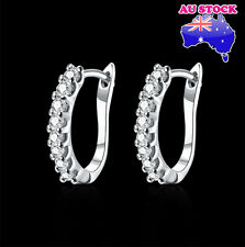 Elegant 18K White Gold Filled GF GP Huggie Hoop Earrings With Zircon Crystal