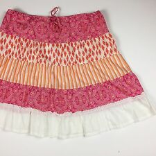 J Crew Cotton Skirt Size L Drawstring Waistline Pink White Orange Country Cute