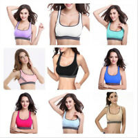Women Yoga Fitness Stretch Workout Tank Padded Sports Bra Seamless Racerback HL