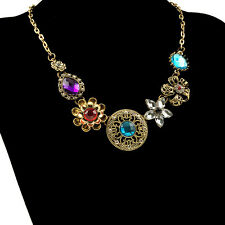 Wholesale Vintage Palace Crystal Flower Statement Charms Chain Necklace Jewelry