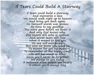 If Tears Could Build A Stairway Memorial Christmas Anniversary Gift Present
