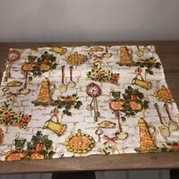 "Vintage Mid Century Kitchen Cafe' Curtain 31""x23"" Orange Yellow Kitchen Print"