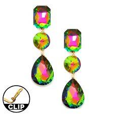 Statement Lange Ohrclips Clips Clip Klips Ohrringe Kristall Grün Blau Pink 8 cm