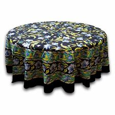 Handmade 100% Cotton Regal French Floral Round Tablecloth 60 Inches Black Blue