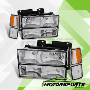 1994-1998 Chevy Silverado Suburban Tahoe Headlights+Corner+Bumper Parking Lamps