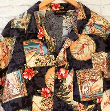 Hawaiian Shirt Aloha Friday XL Wahini Hibiscus Outrigger Lei Santana Cotton