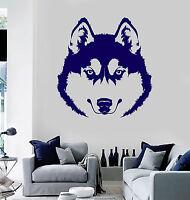Vinyl Wall Decal Husky Head Dog Pet Animal Kids Room Stickers Mural (ig3879)