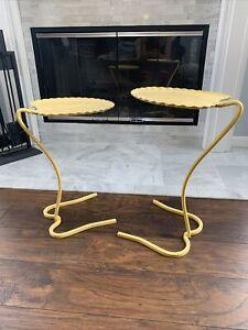 Salterini Metal iron lilly pad nesting tables Yellow MCM Mid Century Modern