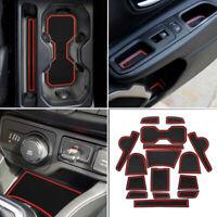 Door Slot Pad Center Console Mats Interior Accessories Anti-Dust Anti-Slip Red Cup Holder Liner Custom Fit for Honda CRV 2012 2013 16pcs