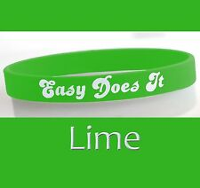"""Easy Does It"" 12 Step Recovery Program Silicone Wristband/ Lime"