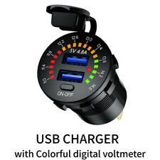 12V Dual 4.8A USB Car Charger 2 Port Adapter LED Voltmeter Socket Fast Charging