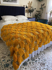 Traditional Moroccan Wedding Blanket Handmade Handira Sequin Cotton Wool Textile