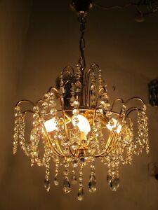 By Palwa Antique Vnt Germany Swarovski Crystal Chandelier Lamp 1960's 16in Ø Dm