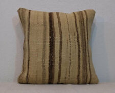 16x16 Organic Cream and Natural Brown Striped Kilim Pillow Case undyed wool