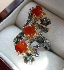 925 STERLING SILVER NATURAL ORANGE CARNELIAN & EMERALD FLOWER RING SZ O 7.5