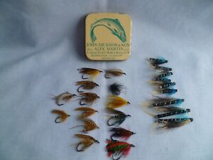 VINTAGE JOHN DICKSON & SON Inc. ALEX MARTIN TIN BOX WITH 20+ SALMON/ TROUT FLIES
