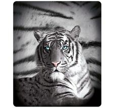 Blue Eyes White Tiger Stripes Polar Fleece Printed Big Cats Throw Blanket Rug