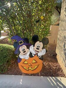 Mickey Minnie Halloween On Pumpkin Yard Art