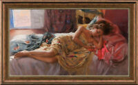 "Original Oil Painting art female Impressionism nude girl on canvas 24""x40"""