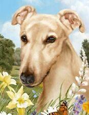 Outdoor Small Flag Greyhound Fawn Dog Summer Flowers Garden Flag