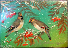 1986 Russian postcard HAPPY NEW YEAR! Two birds and mountain-ash
