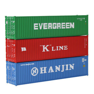 3pcs Different N Scale 40ft Containers Shipping Container 1:160 Freight Car Lot