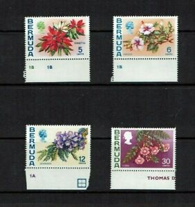Bermuda: 1974, Flowers definitive, reprints with Watermark upright,  MNH set