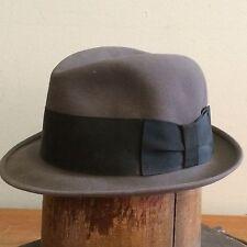 Dobbs Vintage 50s Mens 6 7/8 Gray Felt Fedora Hat