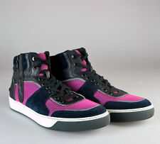 $995 NIB Lanvin Black Pink Leather Suede Mesh High Top Fashion Sneakers Shoes 10