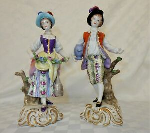 Pair of Rudolstadt Volkstedt Hand Painted Porcelain Figurines Man & Woman