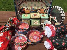 Me Ink Mary Engelbreit 14 Pc Kitchen Lot/set Tea Tray, Apron, Bag Holders +Guc