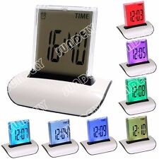 7 LED COLORS CHANGING DIGITAL ALARM CLOCK THERMOMETER DATE TIME SNOOZE LCD CUBE